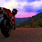 Ducati 848  riding in the Appalachians by Dave McBride