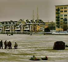 Ice Fishin' Saginaw River Bay City, MI. by Tom Causley