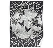 Night Butterflies Poster