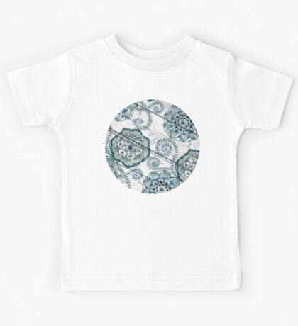 Shabby Chic Navy Blue doodles on Wood Kids Tee