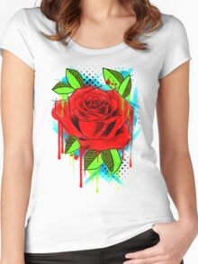 Water Color Rose Women's Fitted Scoop T-Shirt