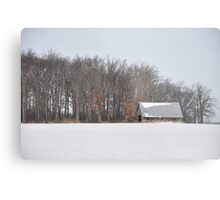 Wintry barn scene Metal Print