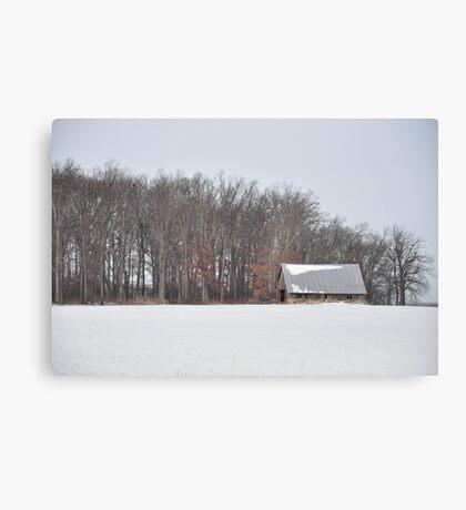 Wintry barn scene Canvas Print