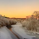 Findhorn river on Christmas eve by donnnnnny