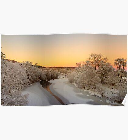 Findhorn river on Christmas eve Poster