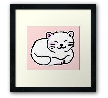 Fluffy white sleepy kitty cat Framed Print