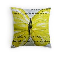Yellow Buttercup Butterfly with Quote overlay Throw Pillow
