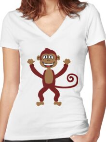 Cheeky Monkey Women's Fitted V-Neck T-Shirt