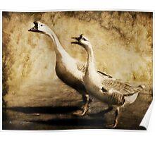 Gabbing Geese Go Walking (Art & Poetry) Poster