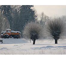 Orange Truck in white landscape Photographic Print