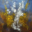 Cascade of flowers 60x50 cm by lizzyforrester