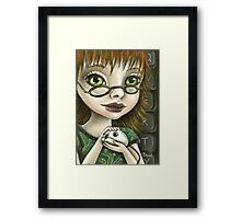 Geek girl and her pet mouse Framed Print