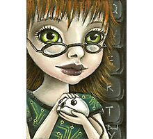 Geek girl and her pet mouse Photographic Print