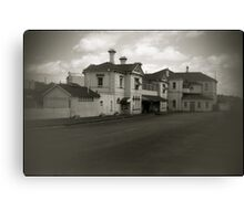 old railway station in black & white Canvas Print