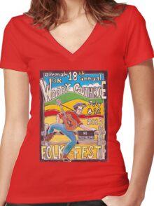 Ellis Paul's 2015 WoodyFest design Women's Fitted V-Neck T-Shirt