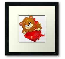 bear and heart Framed Print