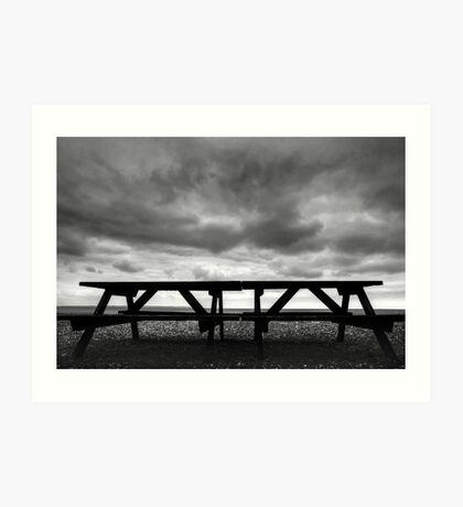 Bench on Beach in black and white. Art Print