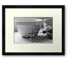 In the kitchen cooking breakfast. Framed Print