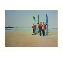 Tofino Surfers, watercolor on paper Art Print