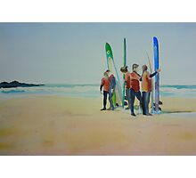 Tofino Surfers, watercolor on paper Photographic Print