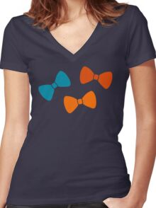 Vintage Pumpkin Bows Women's Fitted V-Neck T-Shirt