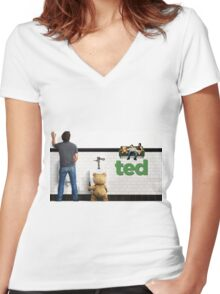 TED 2 SUPER MOVIE  Women's Fitted V-Neck T-Shirt