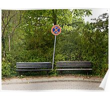 German sign and two benches Poster