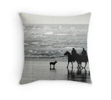 riding horses on the beach Throw Pillow