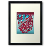 Mr Bold the Feline Fox with a patterned tail Framed Print