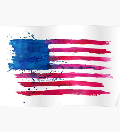 Watercolor Flag of the USA Poster