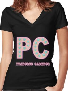 My little Pony - Initials Princess Cadence - Black Women's Fitted V-Neck T-Shirt