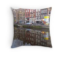 Amsterdam  - Canal houses reflected in canal Throw Pillow