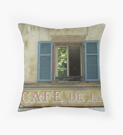 Strasbourg - Window with blue shutters Throw Pillow