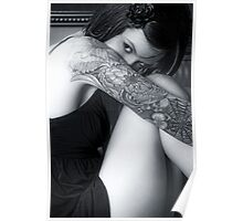 Shy tattoo girl Poster