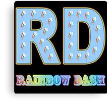 My little Pony - Initials Rainbow Dash - Black Canvas Print