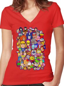 saturday morning collage Women's Fitted V-Neck T-Shirt
