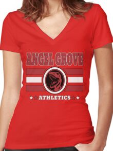 Angel Grove Athletics - Red Women's Fitted V-Neck T-Shirt