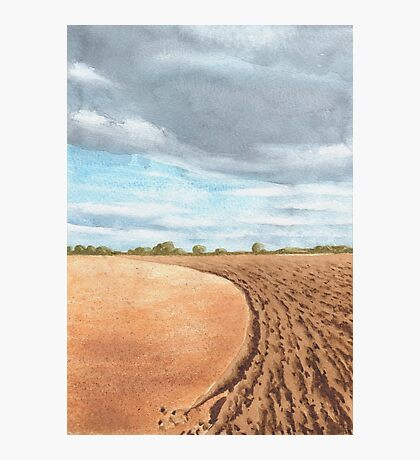 Ploughed Field, Shropshire - watercolour Photographic Print