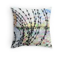 Self Portrait behind Barbed wire Throw Pillow