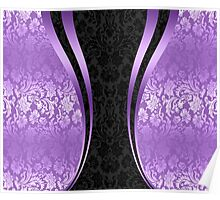 Lavenders and Black Damask And Dynamics Stripes Poster