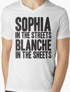SOPHIA IN THE STREETS BLANCHE IN THE SHEETS Mens V-Neck T-Shirt