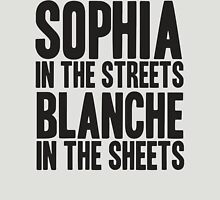 SOPHIA IN THE STREETS BLANCHE IN THE SHEETS Womens Fitted T-Shirt
