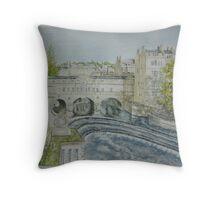 Pultney Bridge, Bath Throw Pillow