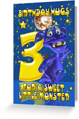 3rd Birthday Card With Cute Blue Monster by Moonlake