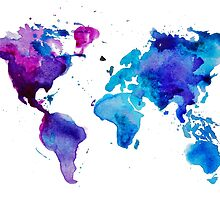 Watercolor Map of the World (t-shirt) by Anastasiia Kucherenko