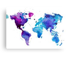 Watercolor Map of the World (t-shirt) Metal Print