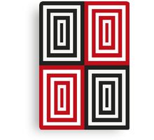 Trippy red & black squared pattern Canvas Print