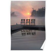 Foggy Sunrise Big Bald Lake Ontario Poster