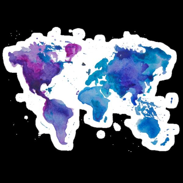 Watercolor Map of the World (t-shirt) by Anastasiia Kucherenko