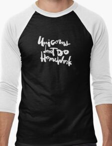 Unicorns Don't Do Homework v2 : White on Purple Men's Baseball ¾ T-Shirt